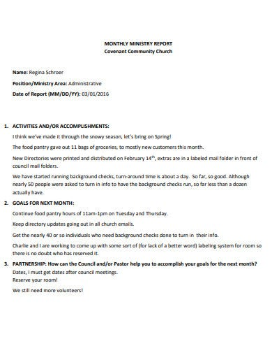 church monthly report template