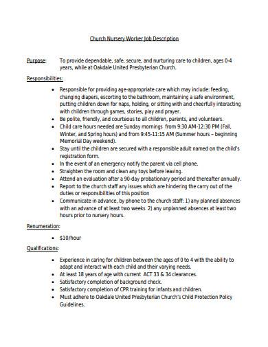 church nursery worker volunteer job description template