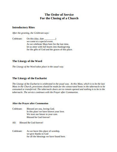 church order of service for closing