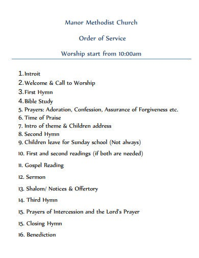 church order of service time