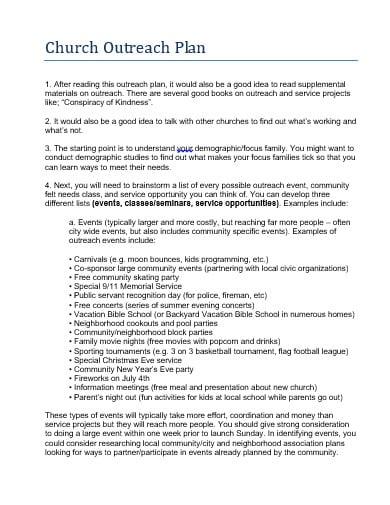 church outreach plan template in doc