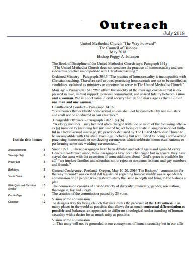 church outreach plan template