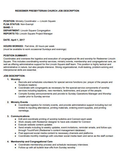 church redeemer job description template