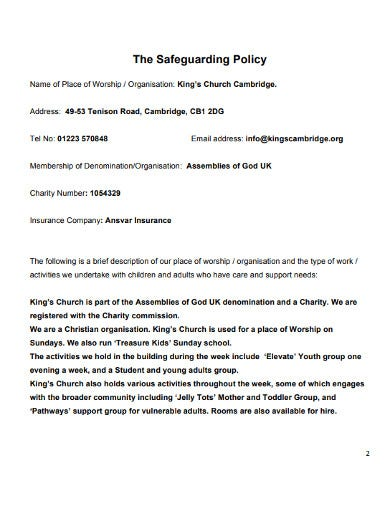 church safeguarding insurance policy