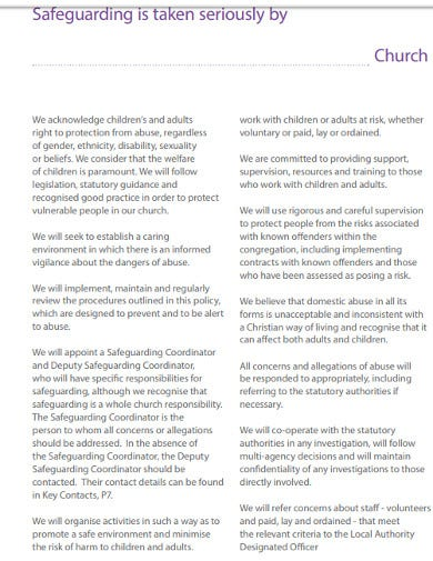 church safeguarding policy assessment