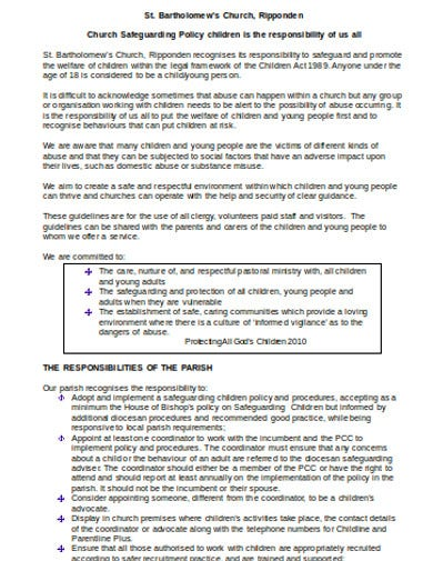 church safeguarding procedure policy