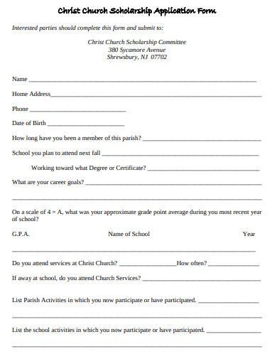 church scholarship application form
