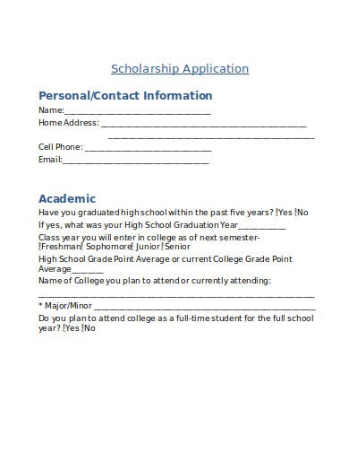 church scholarship application in doc