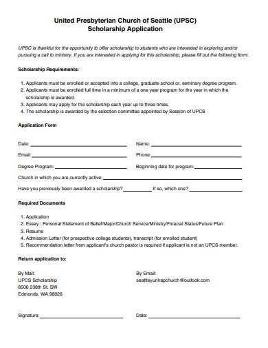 church scholarship application in pdf