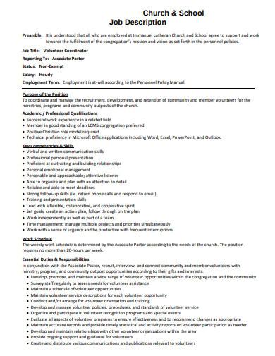 church school volunteer job description template