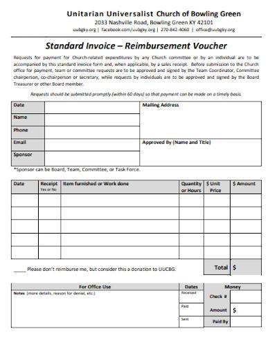 church standard invoice template