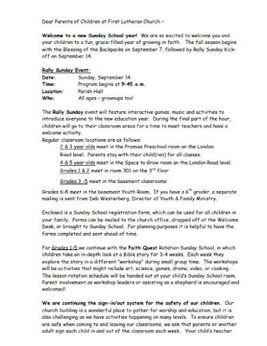 church sunday school welcome letter
