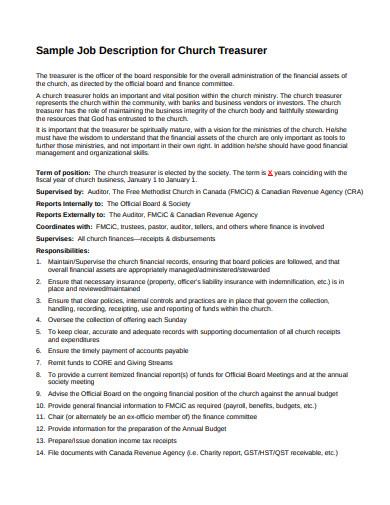 church treasurer job description template