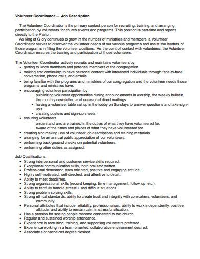 church volunteer coordinator job description template