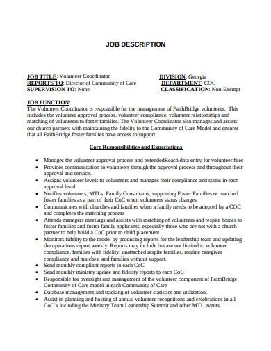 church volunteer job description template