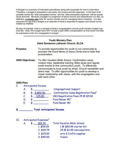 church youth budget plan template