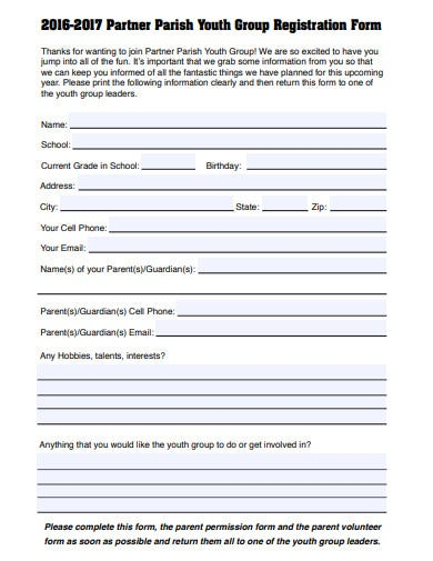 church youth partner registration form template