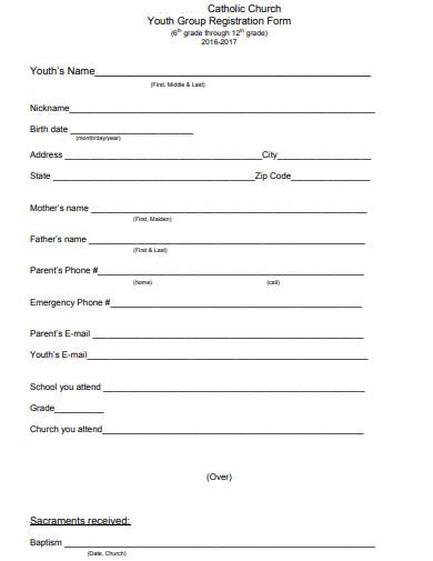 church youth registration form example