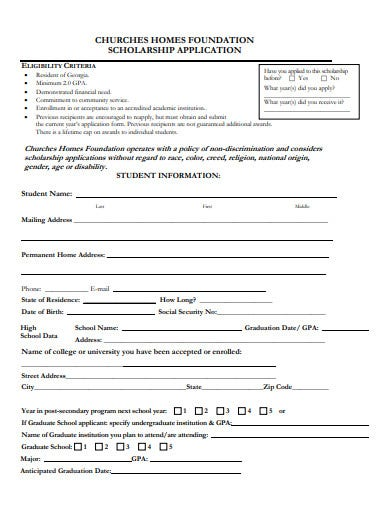 churches foundation scholarship application