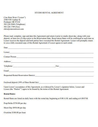 cine studio rental agreement