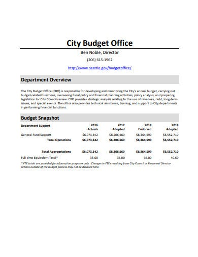 city office budget template