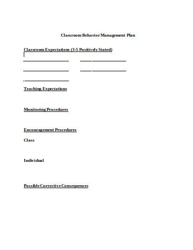 classroom behavior management plan template