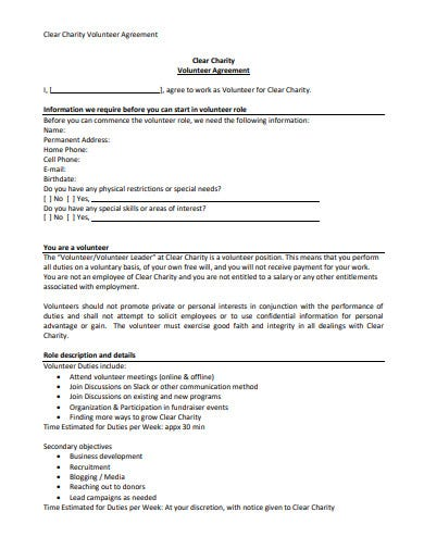 clear charity volunteer agreement template