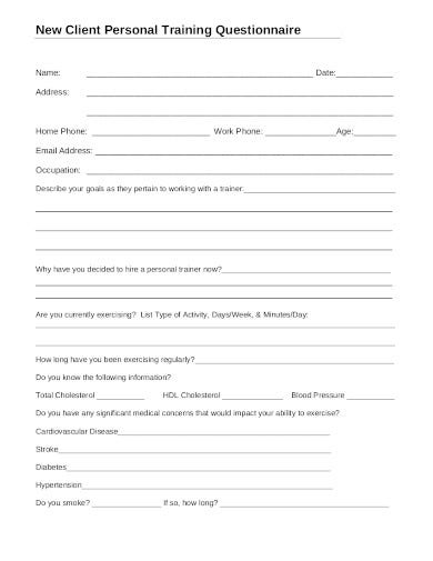 client personal training questionnaire template