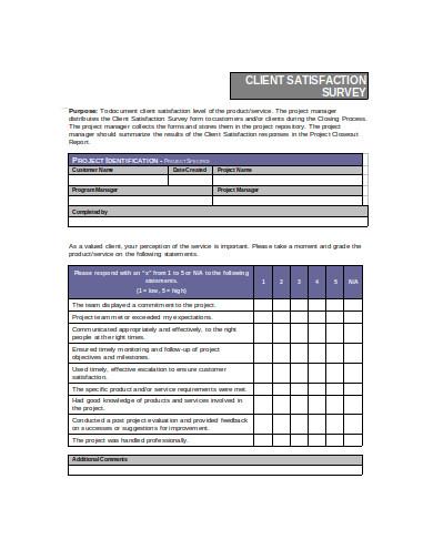 client satisfaction survey example