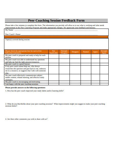 coaching session feedback form example