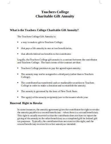 college gift annuity statement