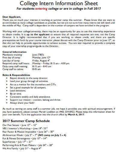 college intern information sheet