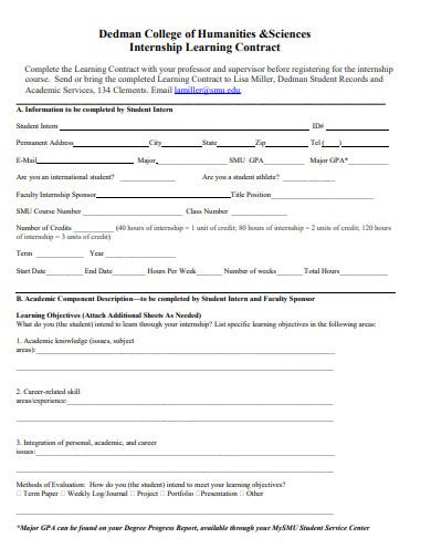 college internship learning contract template