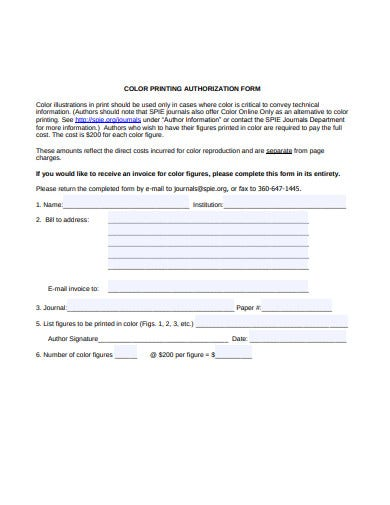 color printing authorization form template