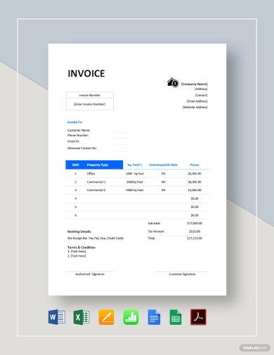 commercial real estate invoice template