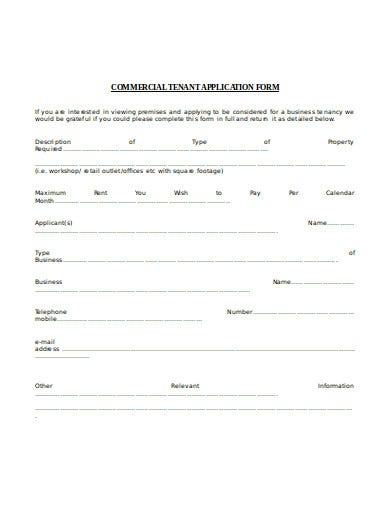 commercial tenant application form