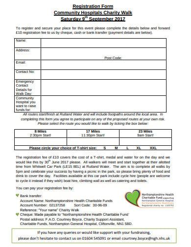 community charity walk registration form