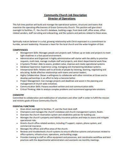 community church job description template