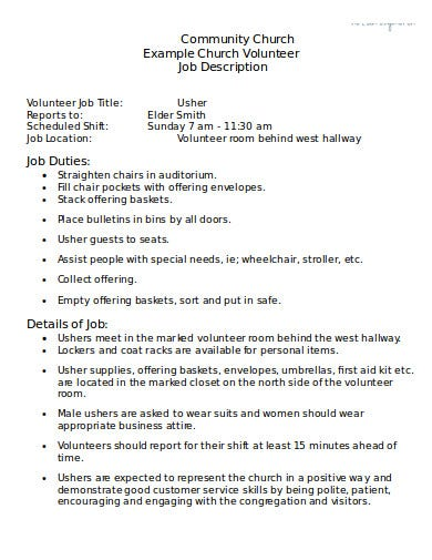 community church volunteer job description template