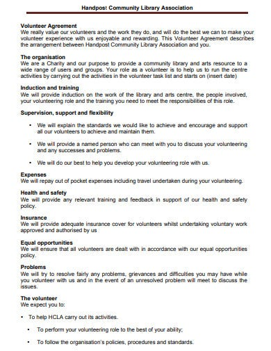 community library charity volunteer agreement