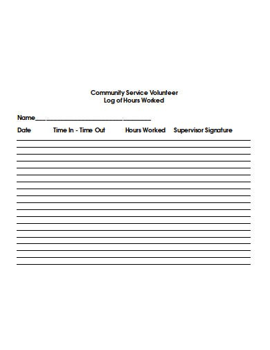 community service volunteer hours log template
