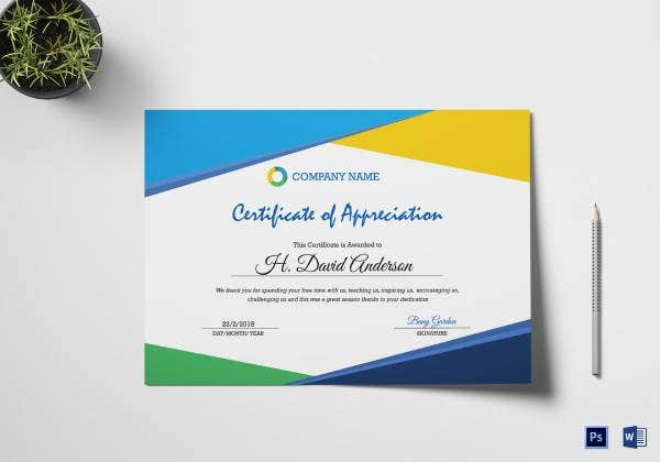 compay certifiticate of appreciation