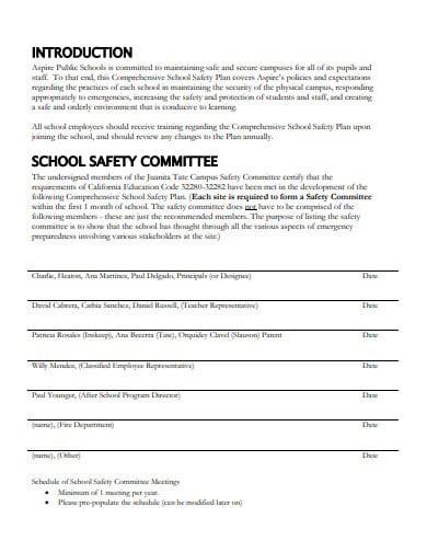 comprehensive school safety plan template