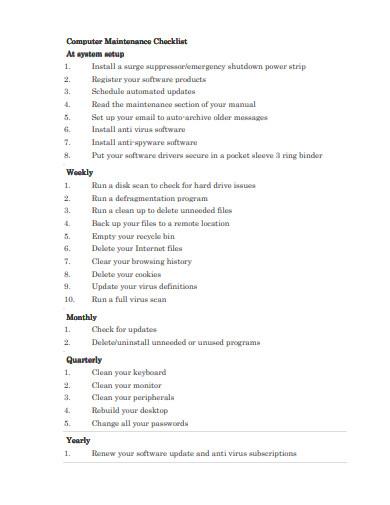 computer maintenance checklist example