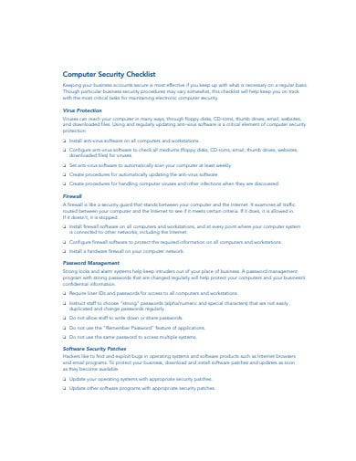 computer security checklist template