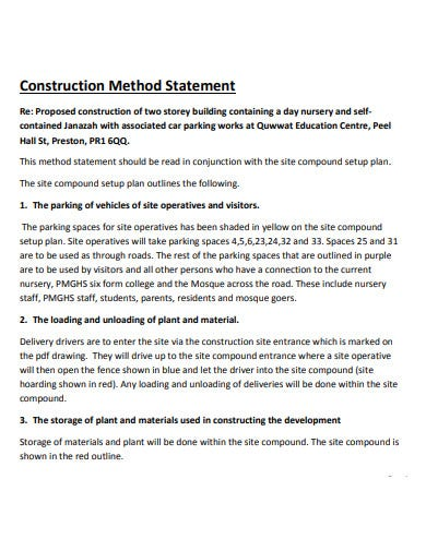 concrete construction method statement