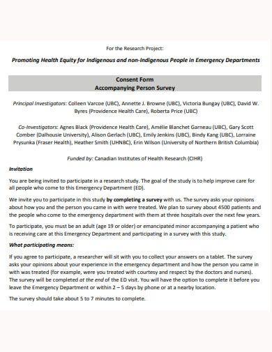 consent form accompanying person survey template