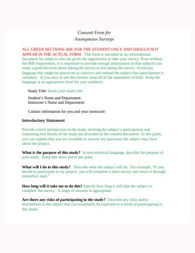 consent form for anonymous surveys template