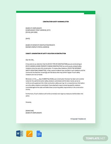 constuction safety warning letter