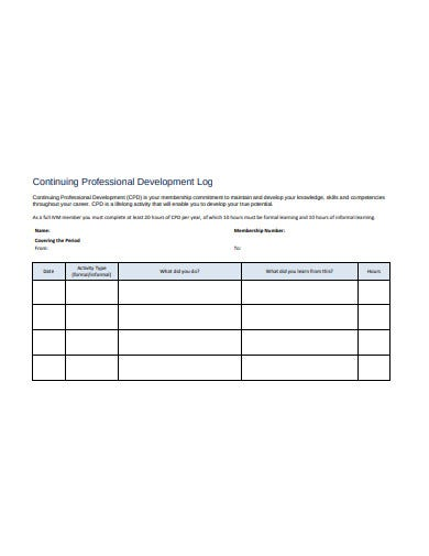 continuing professional development log in pdf